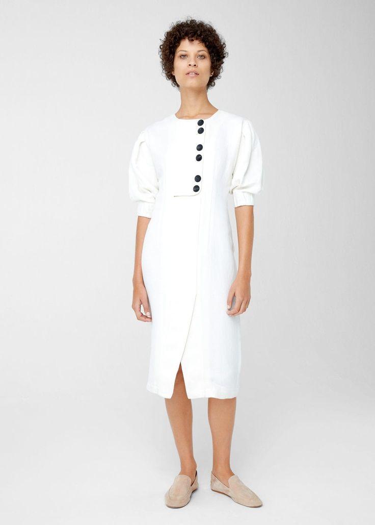 Linen-blend midi dress | MANGO