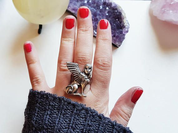 Sphinx ring, Egyptian jewelry for the sultry witchy bohemian.