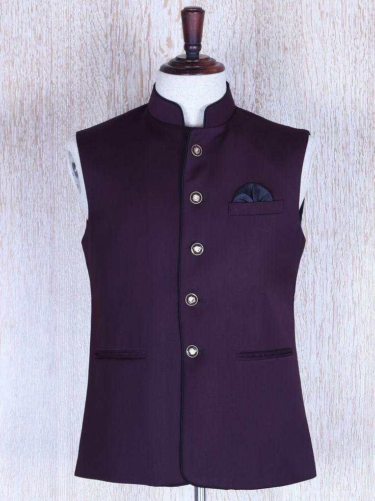 Terry Rayon Plain Purple Waistcoat