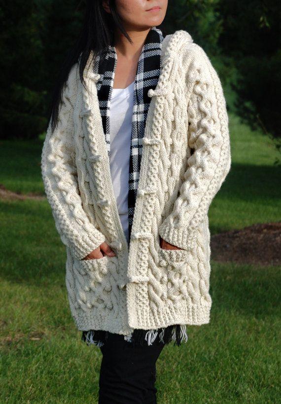 Hand Knit Women Chunky Cable Aran Irish Fisherman Sweater Coat Cardigan