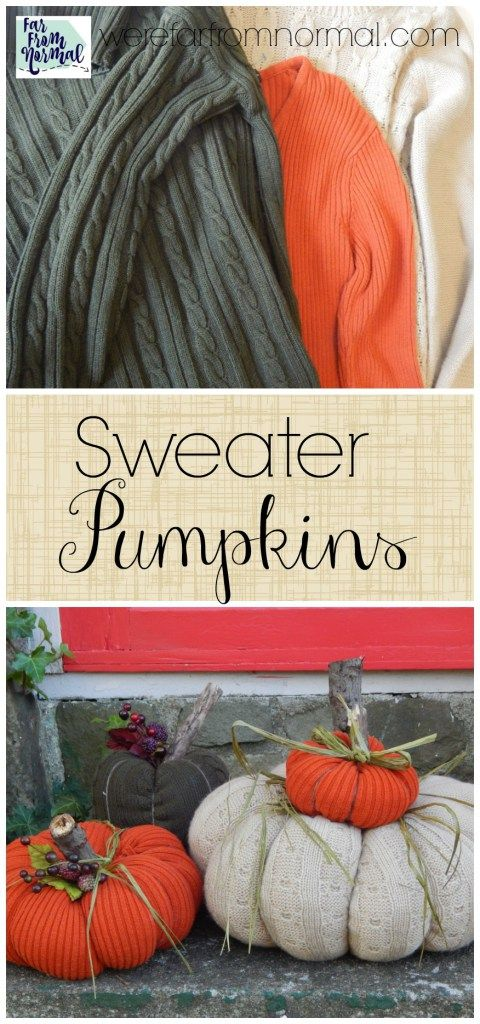 These sweater pumpkins are awesome! Have old sweaters laying around? Turn them into these cute pumpkins no sewing required!