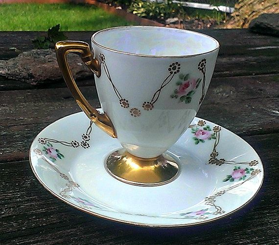 Vintage 1917 Teacup and Saucer Titanic Austria Pirkenhammer Austria Demitasse Cup Pink Roses and Gold Forms Star