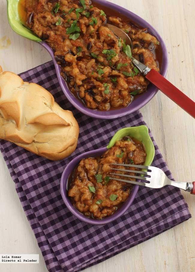Receta de ensalada de berenjenas marroquí. Receta de legumbres y verduras. Con fotos de presentación y paso a paso y consejos de elaboración y de degustación