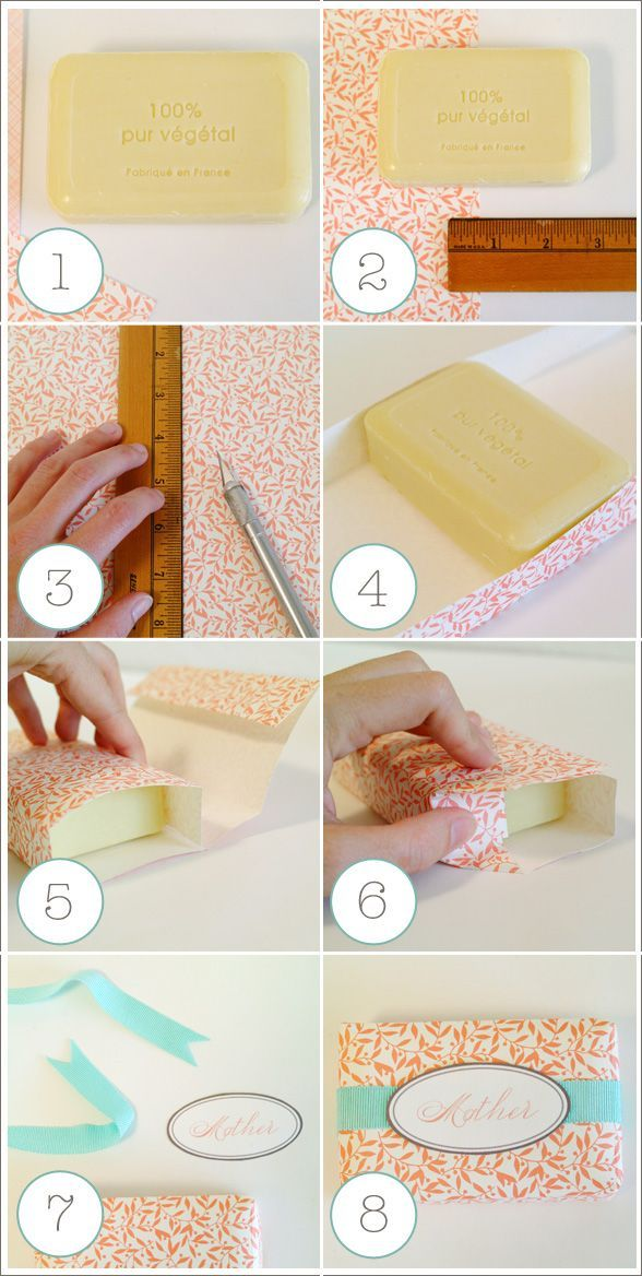 Project Time:  Around 15 minutes or less.    SUPPLIES:  -Rectangular bar of soap  -Decorative paper  -Ruler  -Cutting tool  -Double sided tape - permanent strength.  -Ribbon (optional)  -Labels Download free-oval-round-labels.pdf