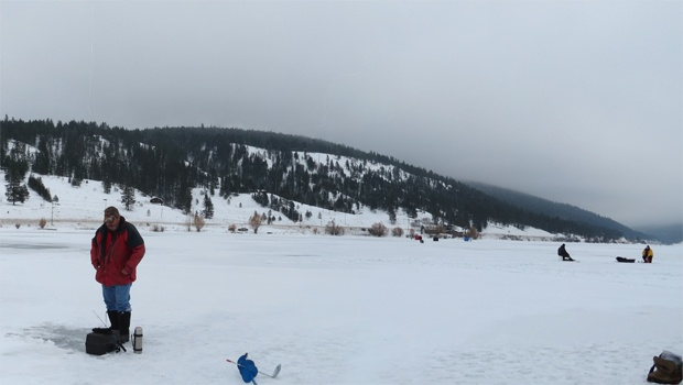 Ice fishing at Monte Lake B.C just outside of Kamloops. The lake has 2 types of fish great for eating, Rainbow Trout and Kokanee!