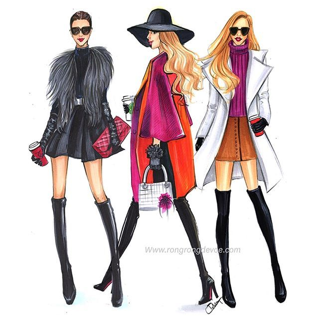 Monday Coffee fashion illustrations by Houston fashion illustrator Rongrong DeVoe #fashionillustration #fashionillustrator #Rongrongdevoe more fashion sketches at www.rongrongdevoe.com