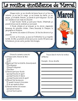 This is a fairly simple text for beginner learners of French (French 1 and/or French 2) that allows them to practice reading comprehension skills in the context of the daily routine vocabulary (reflexive verbs in present tense). After having read the story, students have to complete a very short MC section to demonstrate their reading comprehension, and make a list of the reflexive verbs used in the story. This activity could be extended to having asked students to write a short paragr...