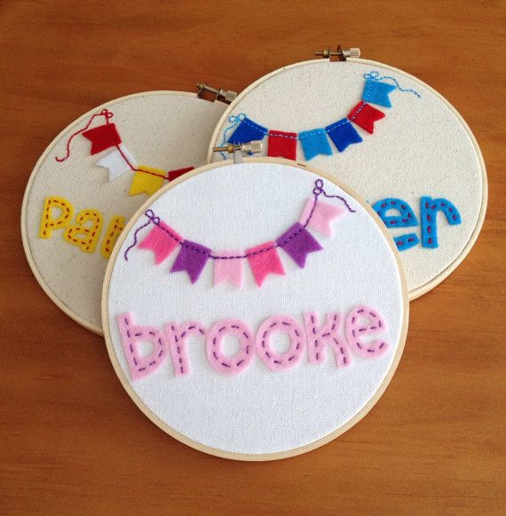 6 Personalized Felt and Embroidery Hoop Art  by AlleycatandCo, $20.00 Good job Alison :)