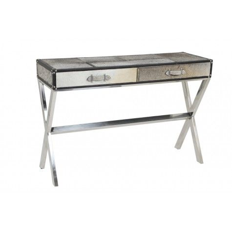 """WEST Table w/2-Drawers Gray Cowskin,47x15.5x31.5""""H - Light & Living"""