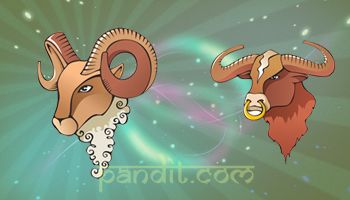 ARIES AND TAURUS COMPATIBILITY by Pandit Rahul Kaushal -------------------------------------------------------- There would be some good romps and they are quite likely to enjoy a very possessive and exciting time together in the beginning here but tears and shouting may well follow.  http://www.pandit.com/aries-love-sign-compatibility/