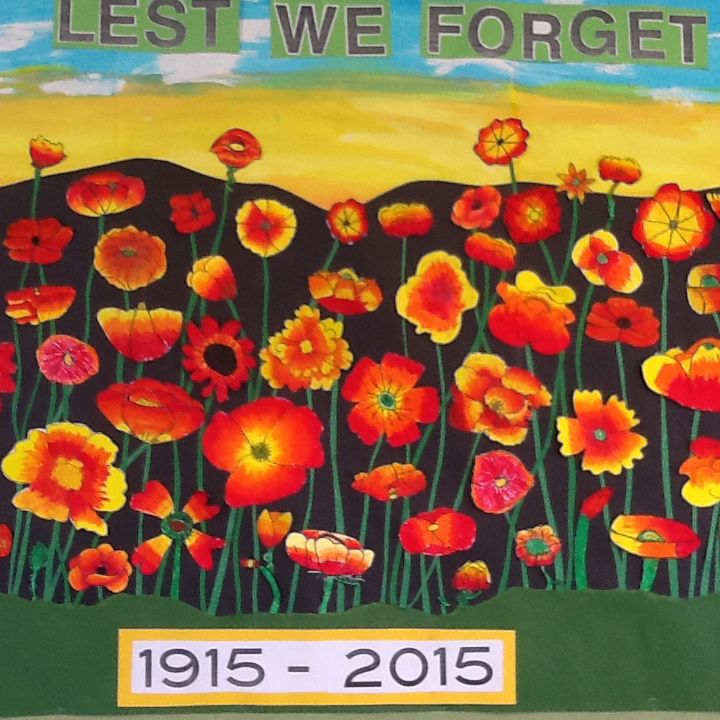 Art wall mural - Inquiry learning about ANZAC day - Poppies - pastel and collage - Poppies flower details