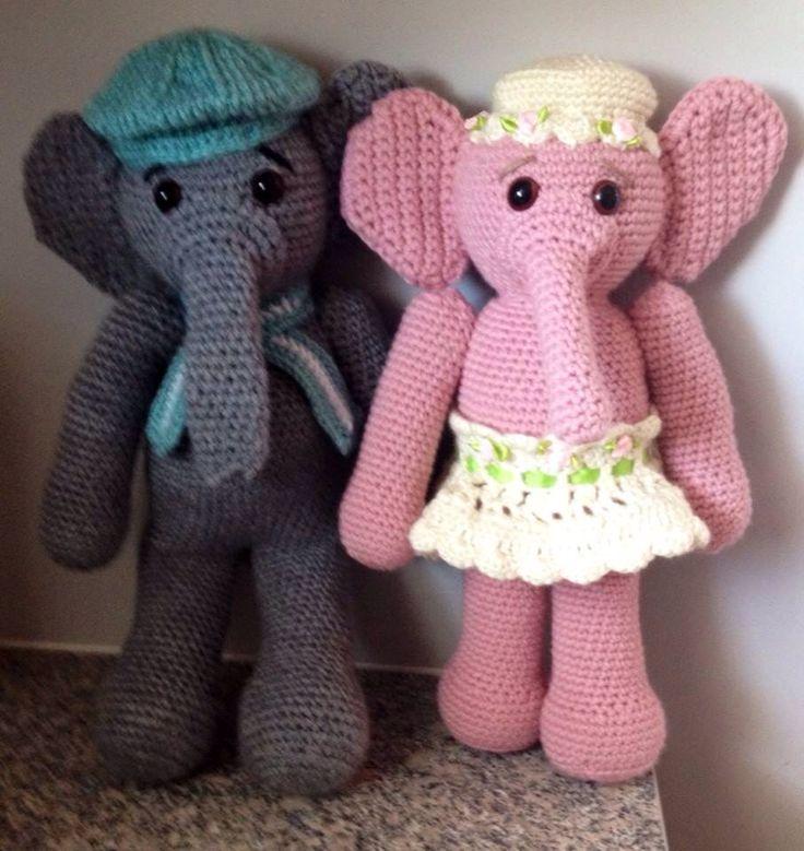 Crocheted stuffed elephant toys