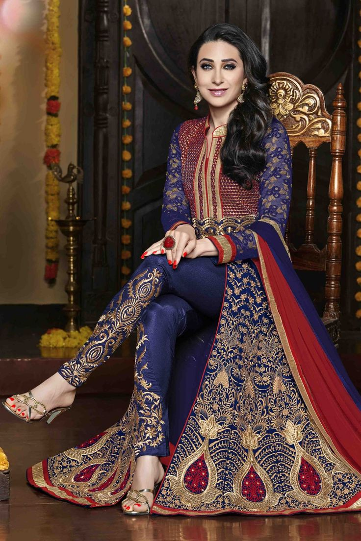 Karishma Kapoor - Blue Faux Georgette Anarkali Suit with Embroidered and Lace Work - Z2377P31512-1