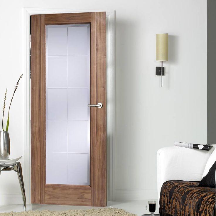 Door Set Kit, Seville Walnut Door - Frosted Safe Glass Inc Brilliant Cut Bevelled Edge - Prefinished. #elegantdoor #glazeddoor #internaldoor