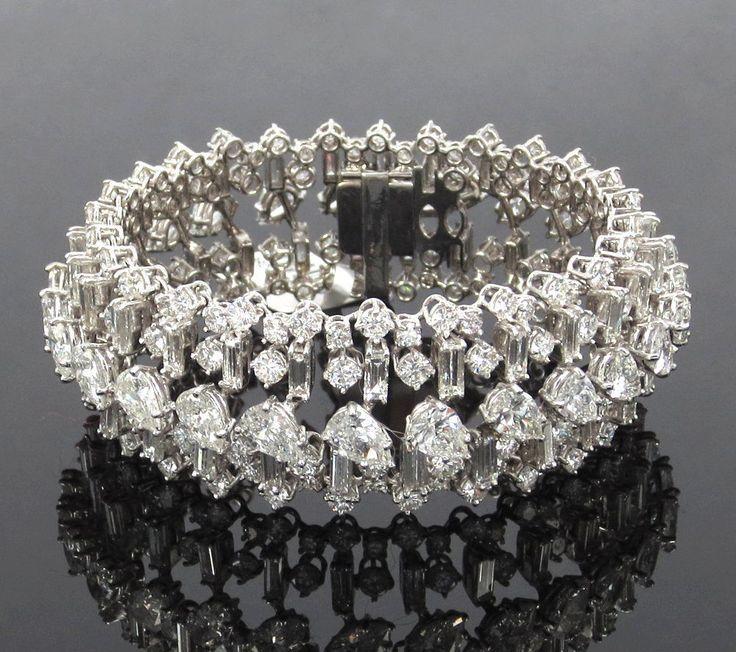 Estate 40.0ct Pear Round & Baguette Cut Diamond Platinum Wide Dome Bracelet