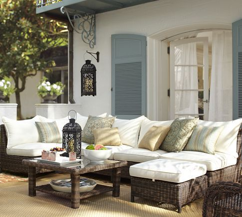 love this look: Potterybarn, Outdoor Seats, Outdoor Furniture, Outdoor Living, Patio Furniture, Outdoor Patio, Backyard, Outdoor Spaces, Pottery Barns