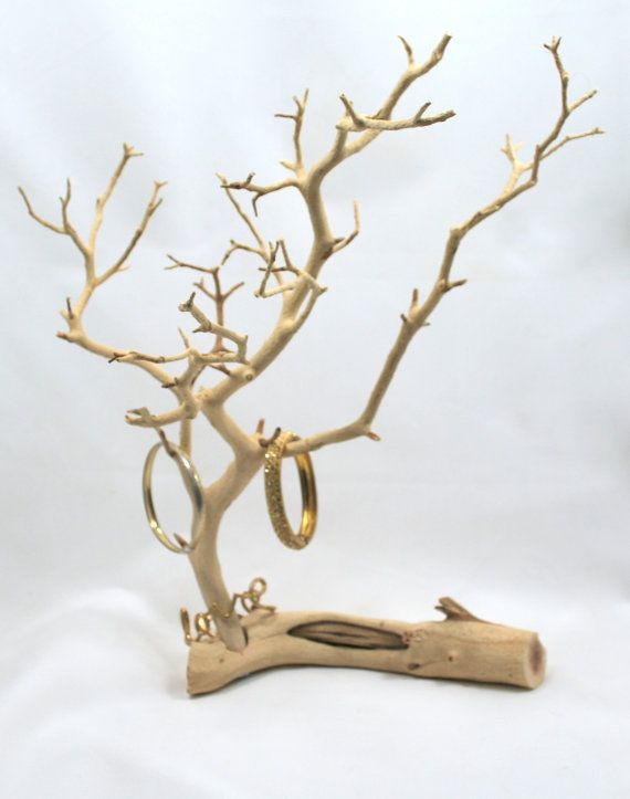 Manzanita jewelry tree stand sandblasted branch by for Tree branch jewelry holder