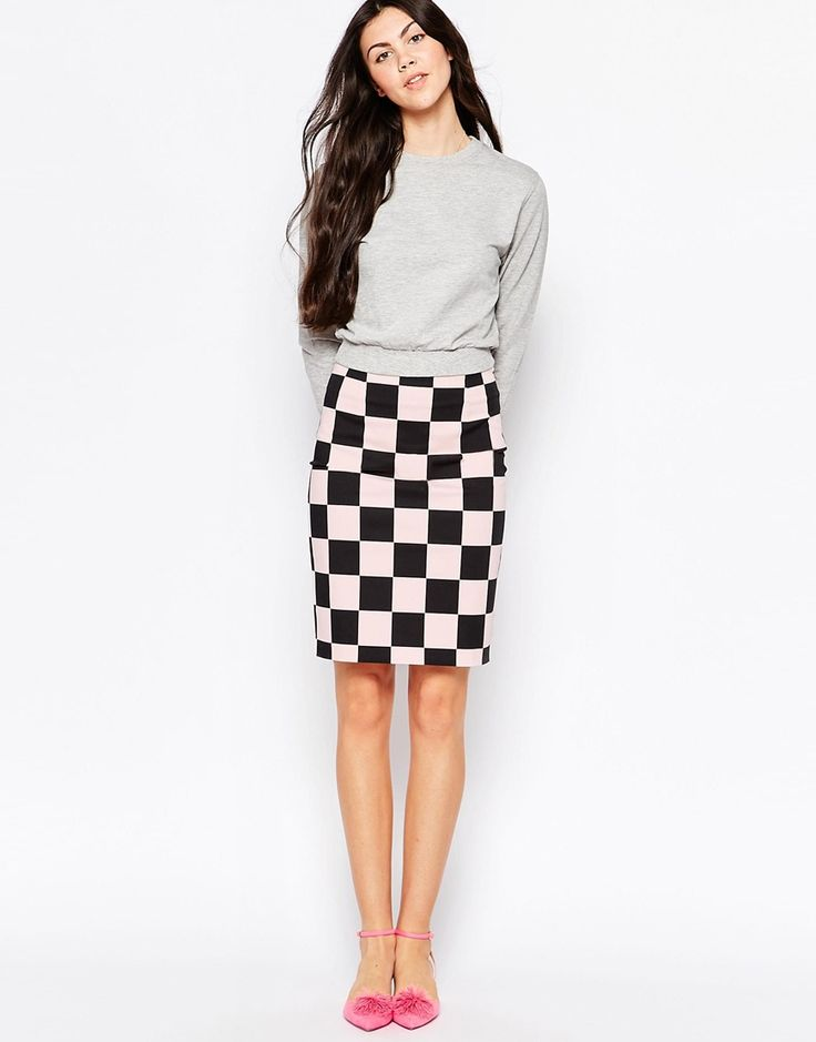 Shop Love Moschino Checkered Pencil Skirt In Pink Wash at ASOS.