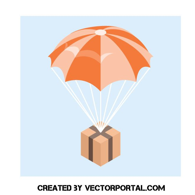 Parachute With Cardboard Box In 2020 Vector Free Cardboard Box Free Vector Images