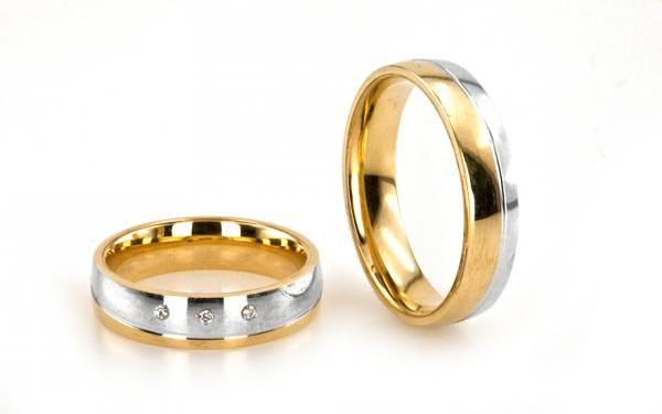 Svadobné obrúčky romantické z viacfarebného 14 karátového zlata so zirkónmi