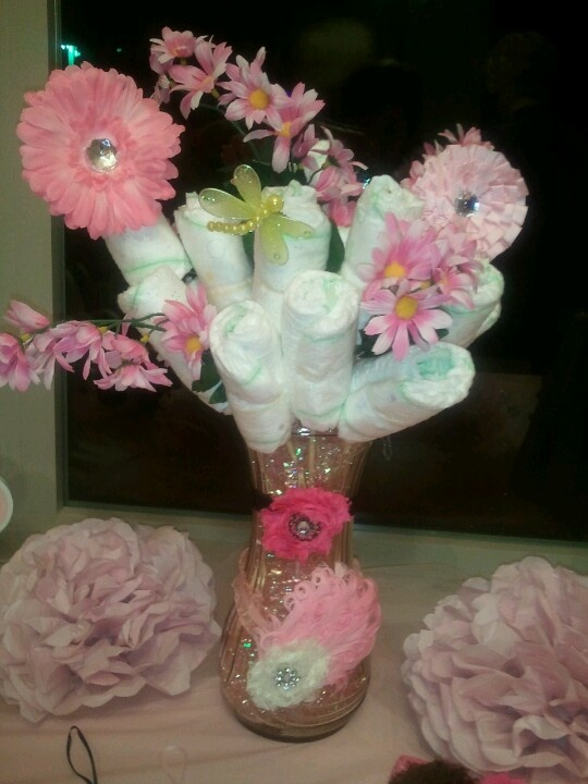 17 best images about diaper bouquet on pinterest for Pink diaper bouquet