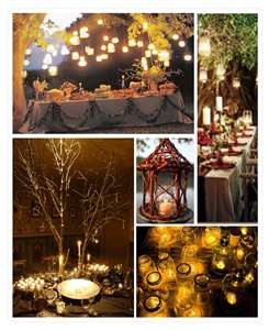 Enchanted Forest Wedding Theme  Like the buffet table and the mason jars with candles