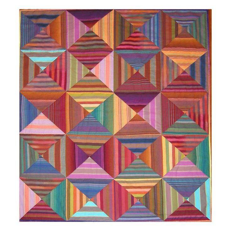 """Kaffe Fasset Optical Squares, 36.5″ x 47″, by Rebecca at BakeNQuilt:  """"It's a super-easy quilt to make since most of the work is done by the striped fabrics"""""""