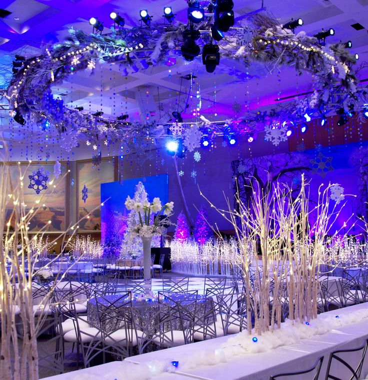 Winter Wonderland Reception: Winter Wonderland Party With Snowflakes With Sparkling