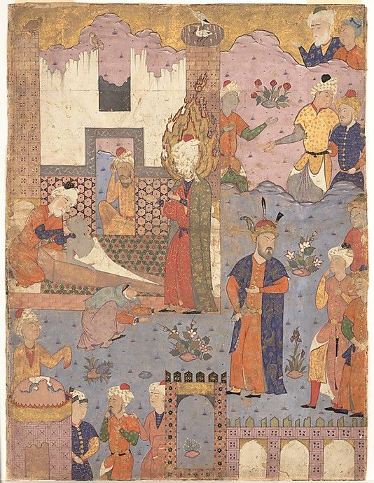 """""""Muhammad Revives the Sick Boy"""", Folio from a Falnama (Book of Omens) of Ja'far al-Sadiq Date: 1550s Geography: Iran, Qazvin Medium: Ink, opaque watercolor, and gold on paper Dimensions: Painting: H. 23 1/16 in. (58.6 cm) W. 17in. (43.2cm) Mat : H. 28 in. (71.1 cm) W. 22 in. (55.9 cm) Frame: H. 30 1/2 in. (77.5 cm) W. 24 1/2 in. (62.2 cm) Metropolitan Museum of Art 50.23.1"""