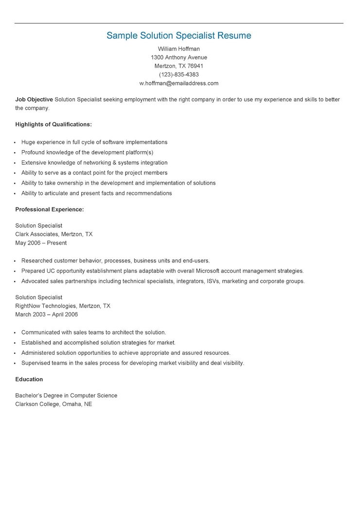 resume solution html forward sample solution specialist resume