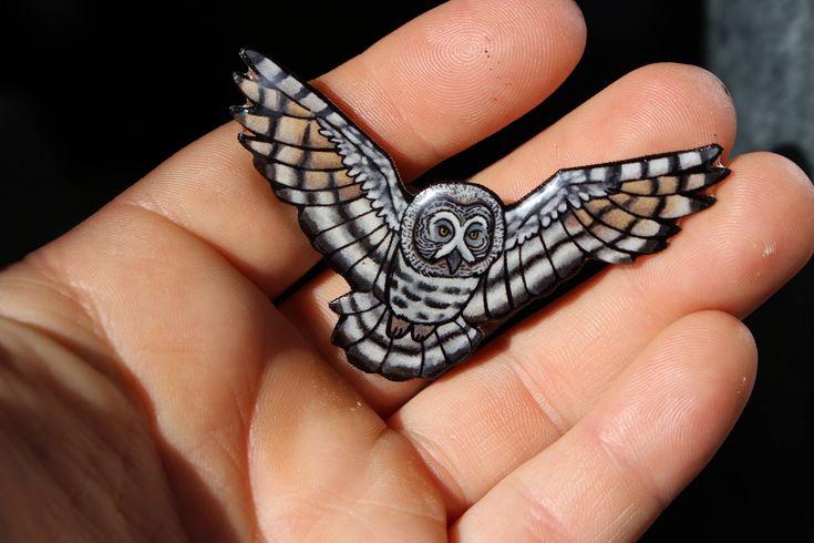 Grey Owl Magnet: Great gift for bird lover for car locker or fridge home decor animal pop art kawaii bird animal magnets Owl Fan by SaltoftheArt on Etsy