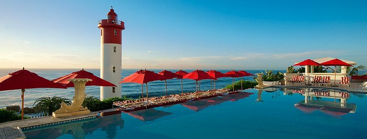 Indian Ocean facing Pool and Umhlanga Lighthouse at The Oyster Box in Durban South Africa