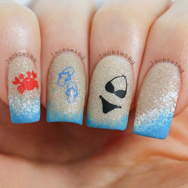 Blue, Black, White, Orange ::::: Beach Themed Nail Art; Crab, Flip Flops, Bikini