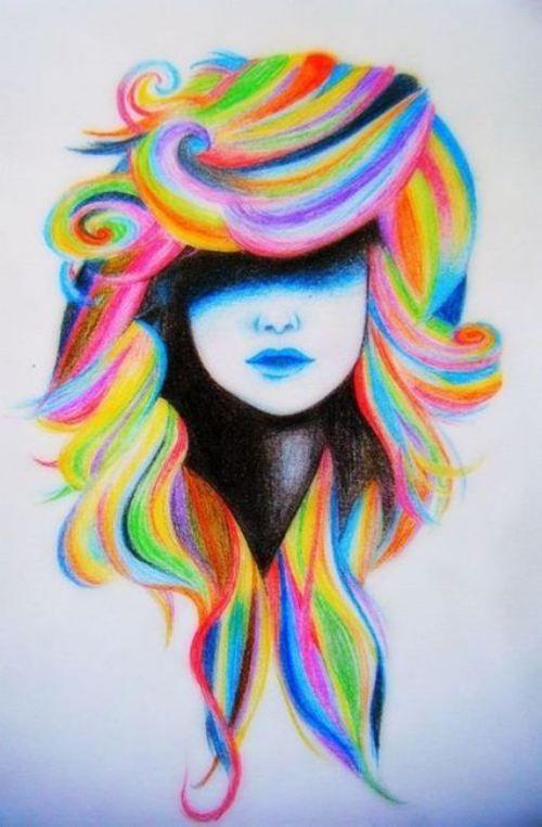 colored pencil girl rainbow hair fashion
