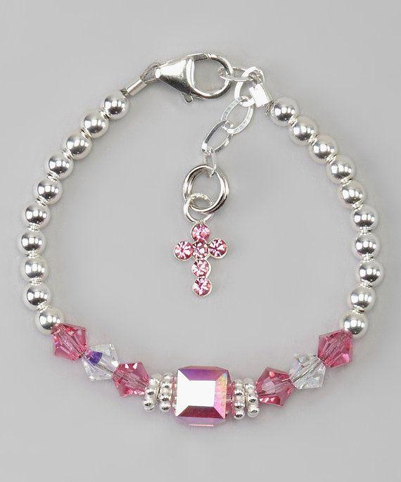 Plata y rosa cruzan pulsera B126