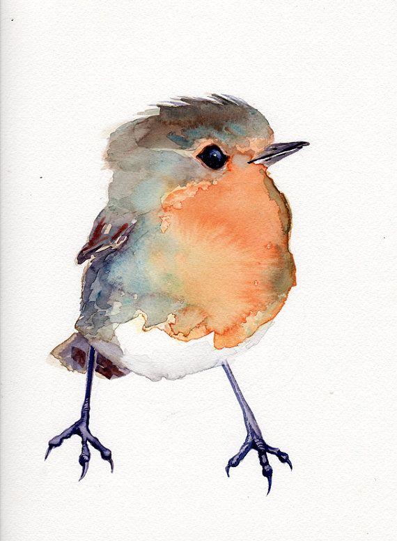Baby Robin, Bird Painting Red Robin, original watercolor, nursery art gift $68