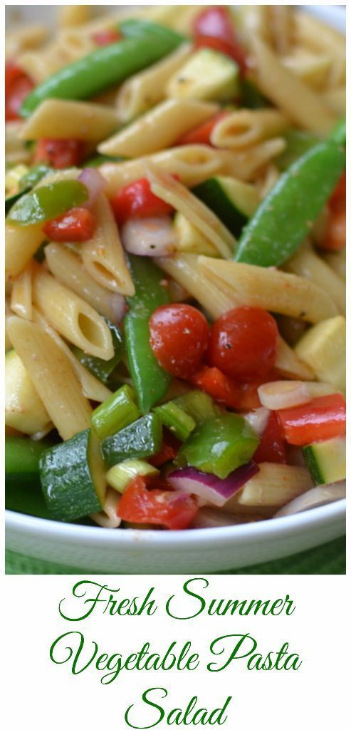 his beautiful Fresh Summer Vegetable Pasta Salad is loaded with fresh good for you summer veggies like red and green bell peppers, zucchini, crisp sugar snap peas and sweet grape tomatoes.