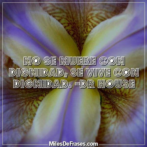 No se muere con dignidad se vive con dignidad. -Dr House