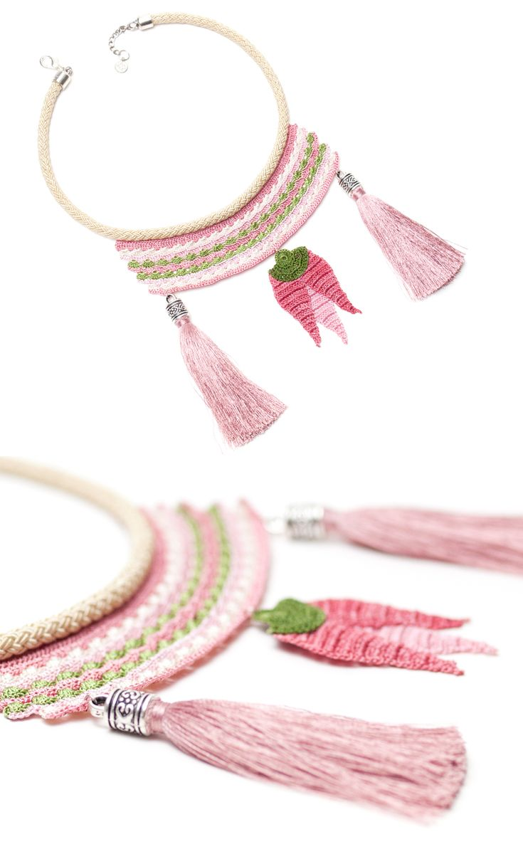ohemian Handmade Crochet Tassel Necklace with Pink Tulip