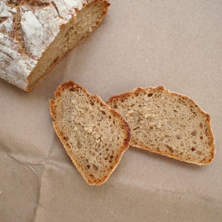 Laskominy od Maryny: Pšeničný chléb s žitným kváskem – nejjednodušší (jednoduchý chleba s velkými oky, menší - lépe zdvojnásobit množství)