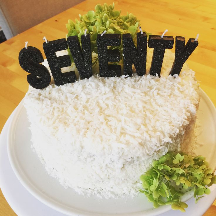 Simple 70th Birthday Cake  Coconut with coconut butter cream