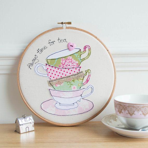 Embroidery hoop teacups stack freehand machine by rachelandgeorge