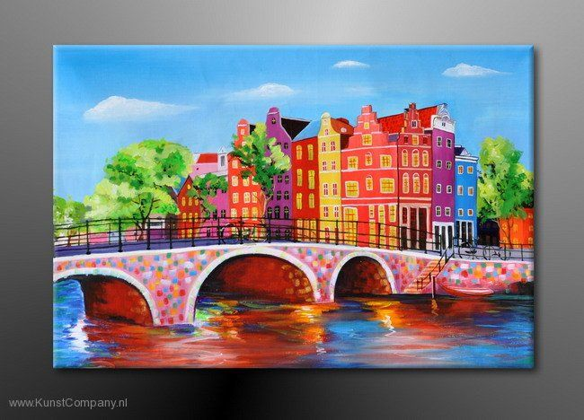 Schilderij Amsterdam 2 in Modern Schilderij Stad in Kleur | Kunst ...
