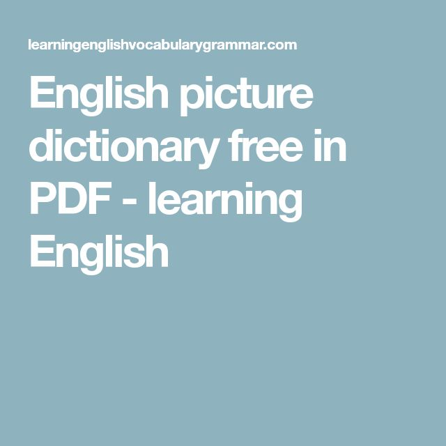 English picture dictionary free in PDF - learning English