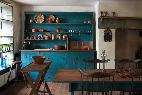 brown and blue LOVE this kitchen!! Reminds me of Williamsburg, or St. John River's house in Jane Eyre.