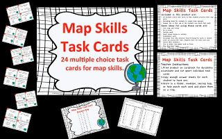 Map Skills Task Cards for review!