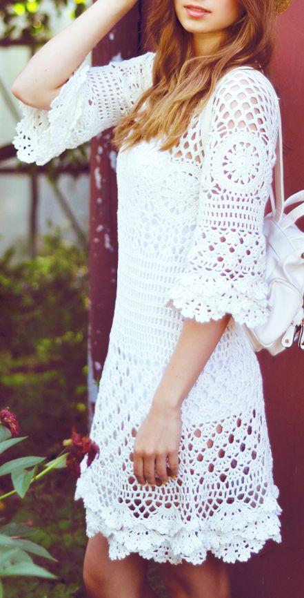 Crochet lace dress....i wish i know how to crochet so i can make my own crochet dress