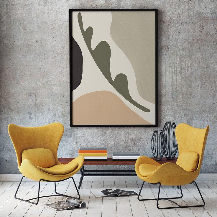 Abstract Neutral Tone PRINT | Wall Art, Mid Centur…