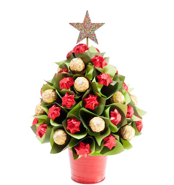Small Traditional Christmas Tree - 15 Ferrero Rocher chocolates, 30 solid Belgian milk chocolate stars, 1 chocolate freckle star & keepsake red tin