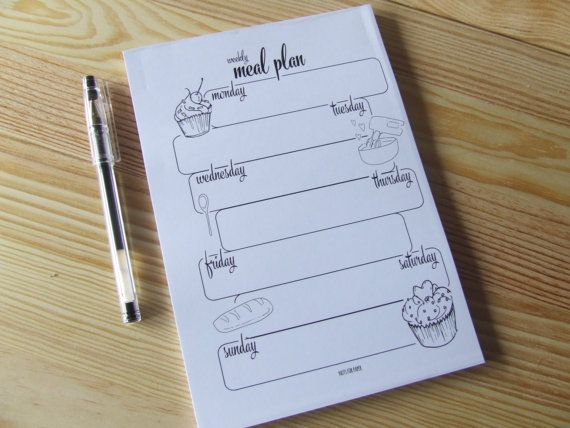 Weekly Meal Planner  Planner Notepad   Desk Pad  by NutsforPaper